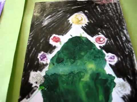 Christmas. Arts and Crafts activity: Christmas trees and decorations made with melted color crayons.