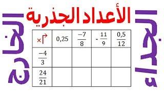 الرياضيات الثالثة إعدادي - الأعداد الجذرية الجداء و الخارج تمرين 15