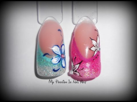 nail art - glitter sfumati su un semplice french