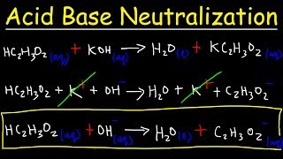 This chemistry video tutorial explains how to predict the products of acid base neutralization reactions.  It explains how to balance the chemical equation, write the total ionic equation, identify the spectator ions and write the net ionic equations.  It discusses what to do when strong acids and weak acids are present.  Weak acids should not be separated into ions in the ionic equation due to partial ionization.  This video contains plenty of examples and practice problems.New Chemistry Video Playlist:https://www.youtube.com/watch?v=bka20Q9TN6M&t=25s&list=PL0o_zxa4K1BWziAvOKdqsMFSB_MyyLAqS&index=1Access to Premium Videos:https://www.patreon.com/MathScienceTutorFacebook:  https://www.facebook.com/MathScienceTutoring/
