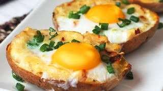 Khmer Food - Twice Baked Potato with Egg on Top