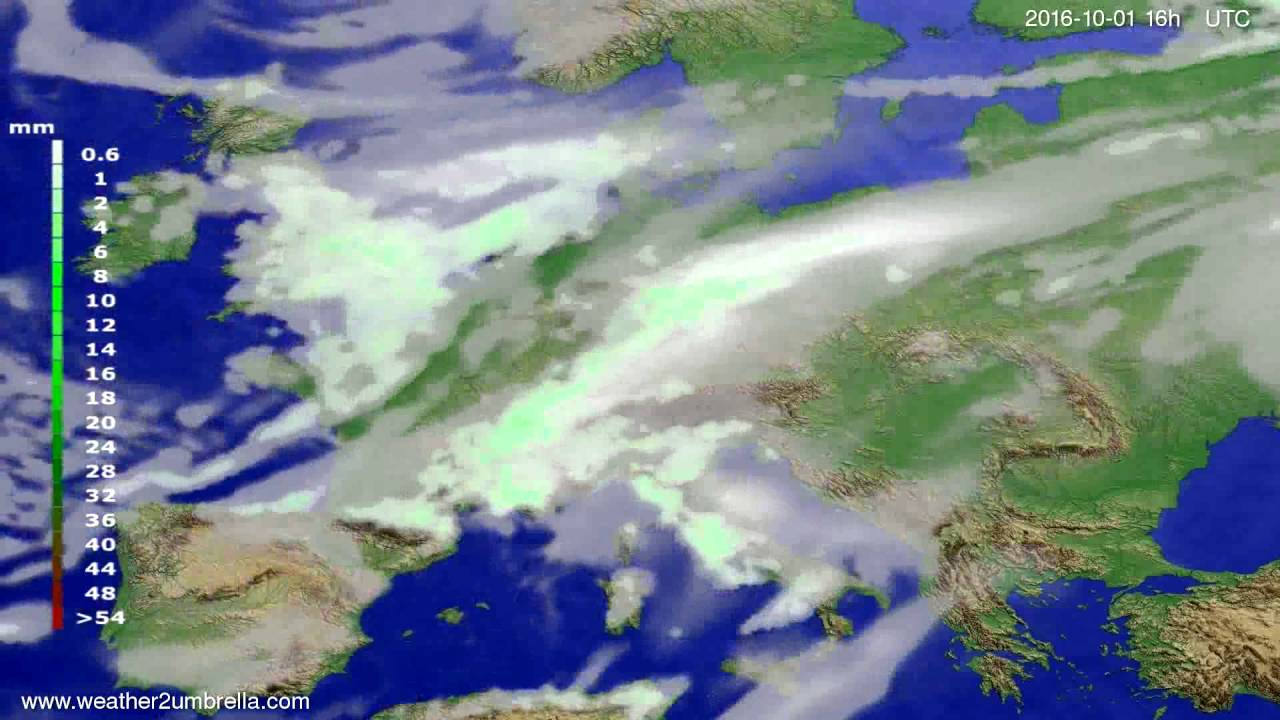 Precipitation forecast Europe 2016-09-28
