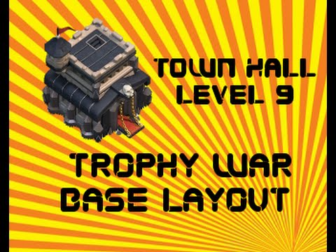 layout - This Town Hall Level 9 trophy base / defense layout can serve as a trophy base layout, protecting your trophies and your resources. Best defense set up extremely effective setup base for town...