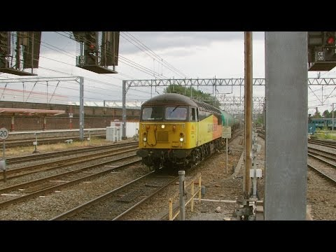 Locomotives at Crewe featuring classes 47, 56, 57, 66, 67...