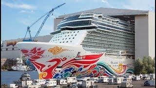 Video Big ship launch: Float out of cruise ship Norwegian Joy at Meyer Werft shipyard MP3, 3GP, MP4, WEBM, AVI, FLV Mei 2019