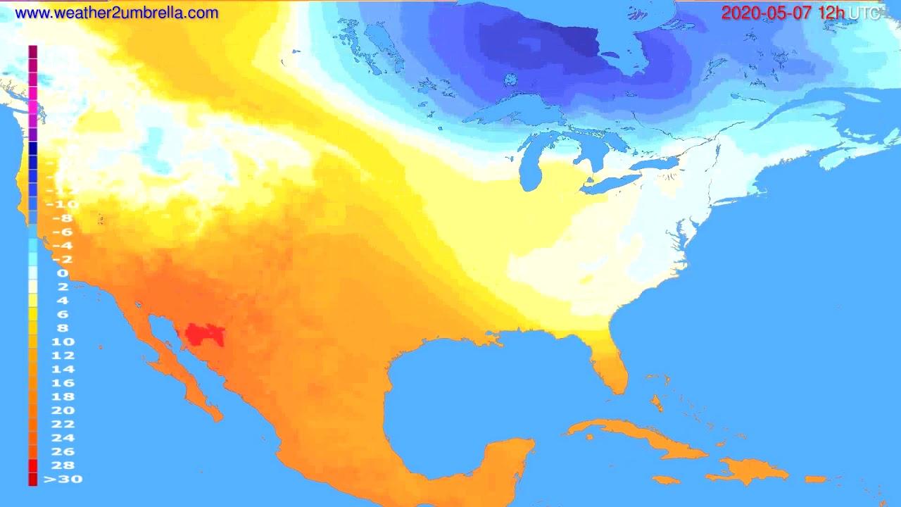 Temperature forecast USA & Canada // modelrun: 00h UTC 2020-05-07