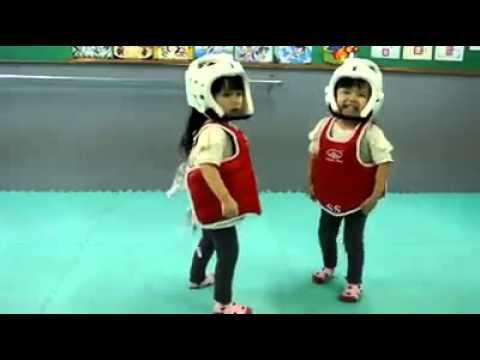 Cute Little Girls Learn Taekwondo