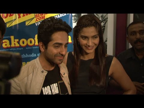 Sonam Kapoor & Ayushmann Khurrana promoted Bewakoofiyan at a coffee shop