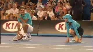 january 12,2013. On the eve of Australian kids day, tennis stars played exhibition match including roger federer, novak, azarenka, serena, tsonga, ana.