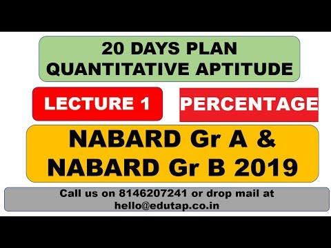 Lecture 1|percentage|target Nabard Gr A And B 2019|20 Days Plan|quantitative Aptitude