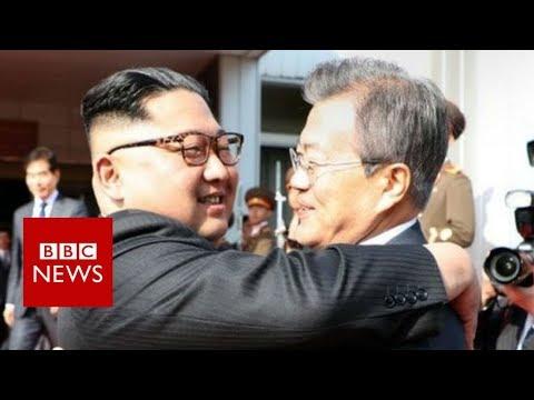 Korean leaders meet in surprise summit - BBC News (видео)
