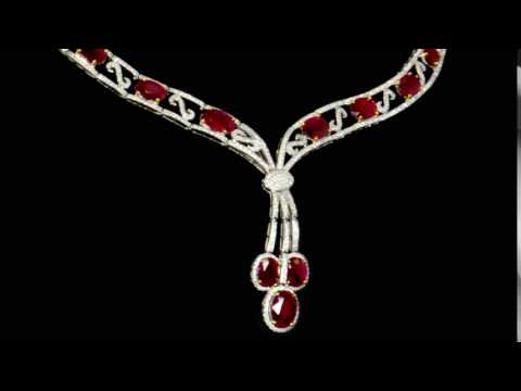 Lady's 14k White Gold 29ct (TW) Ruby and Diamond Necklace