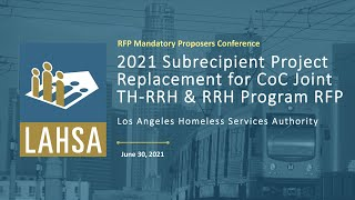 2021年Subrcpt. 项目. 替换CoC关节TH-RRH & RRH计划RFP提议者会议网络研讨会