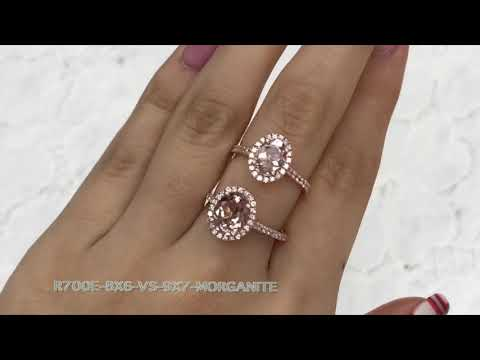 8X6 vs. 9X7 Oval Halo Diamond Morganite Ring in Rose Gold Pave Band