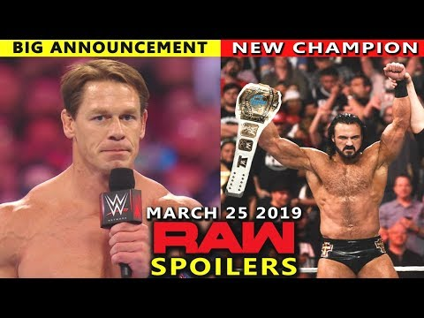10 WWE RAW Rumors & Spoilers for March 25, 2019 Show - John Cena Returns