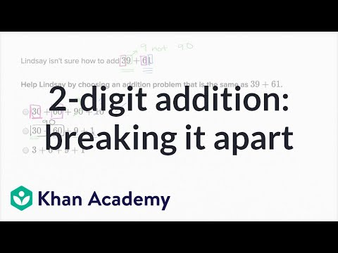 Breaking Apart 2 Digit Addition Problems Video Khan Academy