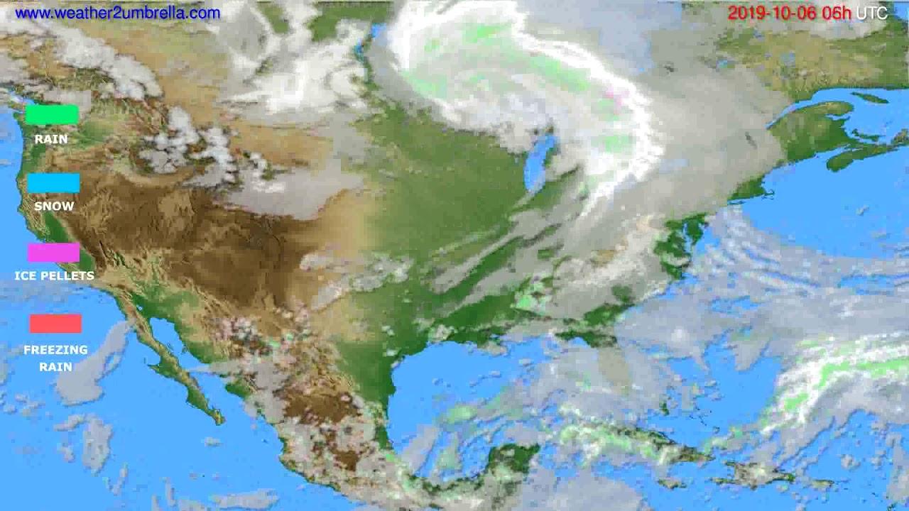 Precipitation forecast USA & Canada // modelrun: 00h UTC 2019-10-04