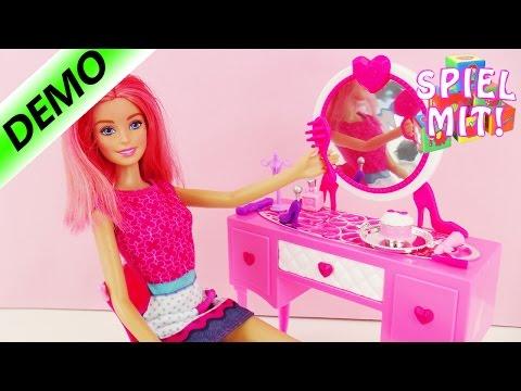 Barbie Frisierkommode mit Spiegel und Styling Produkten | Schminktisch mit Bürsten und Make up