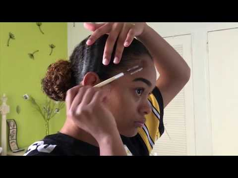 My Curly Hair Routine + Low Bun and Edges❤️✨Rebecca York🐾