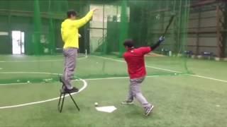 「上から落ちてきたボールをティーバッティング」(ブリスフィールド東大阪 野球教室 平下コーチ(元阪神タイガース))