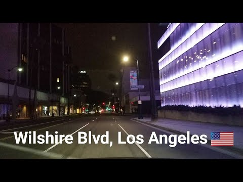 Los Angeles Driving Tour:  Wilshire Blvd at Night. No Music; No Talking