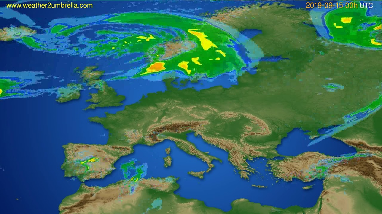Radar forecast Europe // modelrun: 12h UTC 2019-09-14