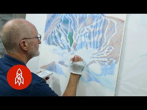Beautiful Hand Painted Ski Maps