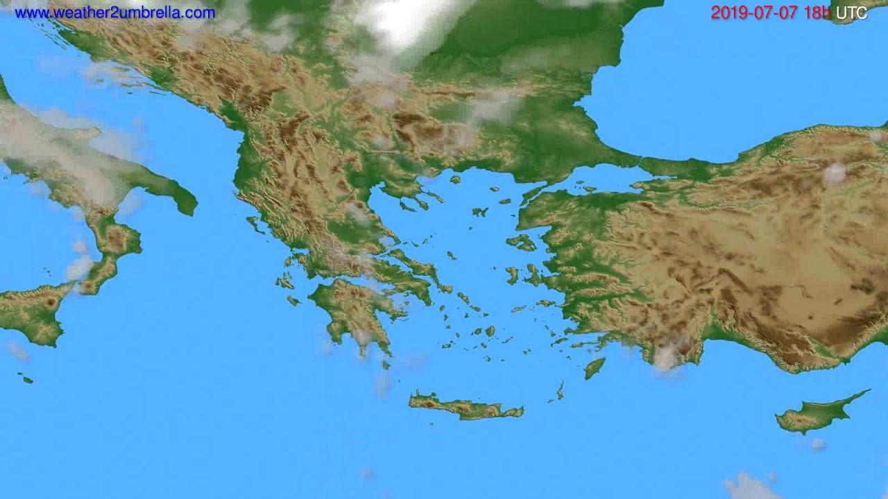 Cloud forecast Greece // modelrun: 12h UTC 2019-07-04