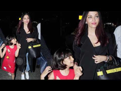 Aishwarya Rai With Daughter Aaradhya Return From C