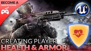In today's video we take a look at how we can setup a player health and armor variable that we can use later on in the series for healing and killing the player.We also go over how we can get those values displayed on the screen in the form of a health & armor bar on the HUD.Unreal Engine 4 Beginner Tutorial Series:https://www.youtube.com/playlist?list=PLL0cLF8gjBpqDdMoeid6Vl5roMl6xJQGCBlueprints Creations Serieshttps://www.youtube.com/playlist?list=PLL0cLF8gjBpoojQ7YqsSsxycBe5S3ikkV► Next VideoIn the next video we'll continue to bring our shooter game to life.♥ Subscribe for new episodes weekly! http://bit.ly/1RWCVIN♥ Don't forget you can help support the channel on Patreon! https://www.patreon.com/VirtusEduVirtus Learning Hub // Media● Facebook Page - https://www.facebook.com/VirtusEducation●Twitter Page - http://www.twitter.com/virtusedu● Website - http://www.virtushub.co.uk
