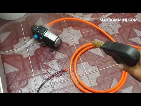 Chạy thử máy bơm áp lực mini 12V 80W lực mạnh xịt rửa tốt