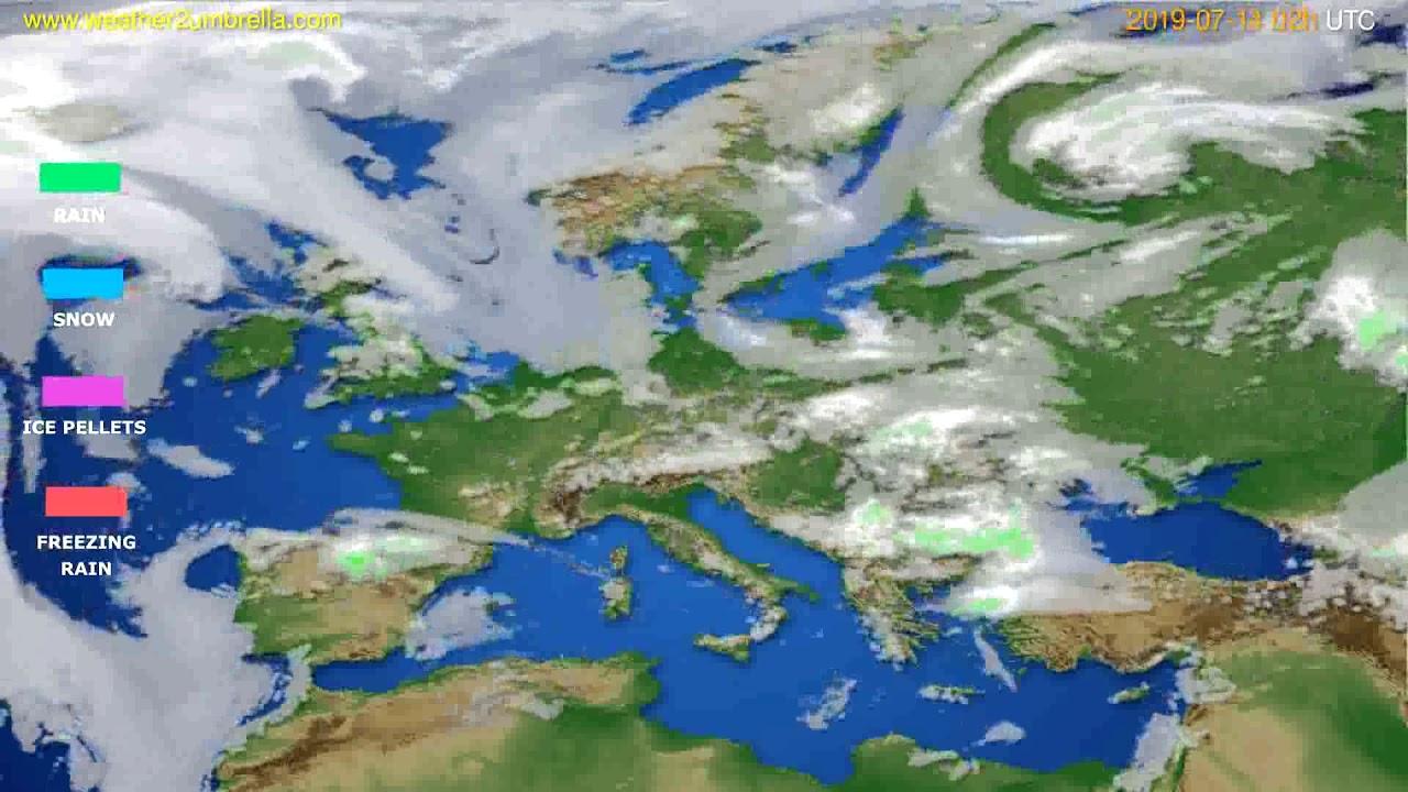 Precipitation forecast Europe // modelrun: 00h UTC 2019-07-12