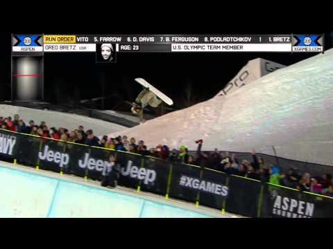 Greg Bretz - Greg Bretz scores a 89.33 on his first run in the Men's Snowboard SuperPipe final at X Games Aspen 2014 and wins the bronze medal.