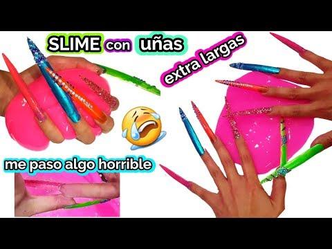 Videos de uñas - Haciendo slime con uñas extra largas, me paso algo horrible