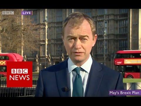 Theresa May Brexit speech 'theft of democracy' says Tim Farron - BBC News
