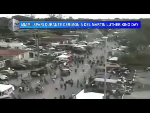 MIAMI, SPARI DURANTE CERIMONIA DEL MARTIN LUTHER KING DAY