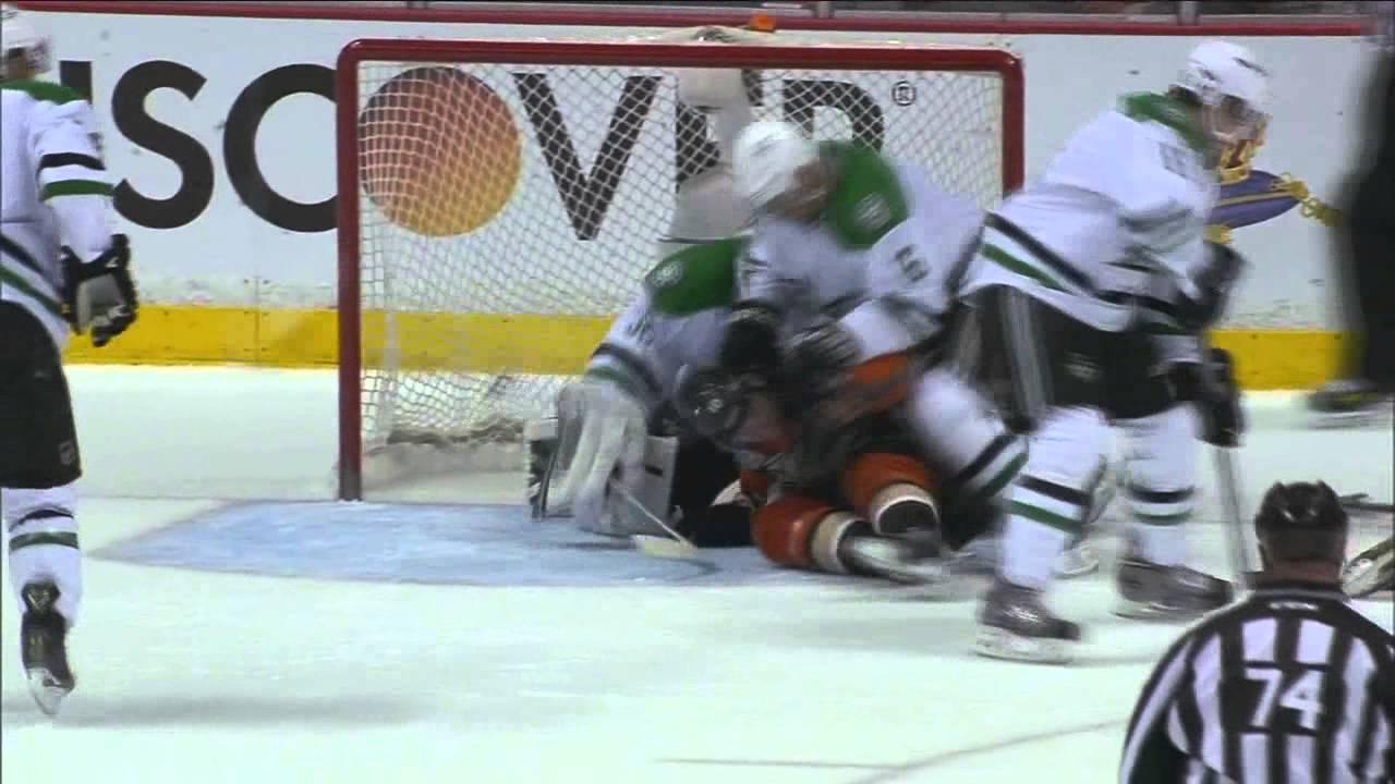 Trevor Daley mugging Corey Perry Dallas Stars vs Anaheim Ducks 4/18/14 NHL Hockey.