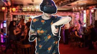 "I haven't been doing as much VR stuff as I'd like to so here's a beautiful compilation of me tearing apart a bar... SUBSCRIBE ► http://bit.ly/SUBDOTTVOh, and don't forget to drop a LIKE for more relatively decent contentOther Videos: ► WORST. GOD. EVER (Deisim #3, HTC Vive VR)https://www.youtube.com/watch?v=HpxU23EeMqoFlairtender is a virtual reality bartending game that has you mixing drinks with style! Start off small making a few simple cocktails, and in no time you'll be a master mixologist.Stalk me on Twitter,  Facebook, Instagram, and Twitch!● TWITTER ➨ http://twitter.com/TimDotTV● FACEBOOK  ➨ http://facebook.com/TimDotTV● INSTAGRAM ➨ http://instagram.com/TimDotTV● TWITCH ➨ http://twitch.tv/TimDotTVFlairtender:  http://store.steampowered.com/app/586020/Flairtender/The HTC Vive is a high-end virtual reality headset developed by HTC and Valve Corporation, released on 5 April 2016. The headset is designed to utilize ""room scale"" technology to turn a room into 3D space via sensors, with the virtual world allowing the user to navigate naturally, with the ability to walk around and use motion tracked handheld controllers to vividly manipulate objects, interact with precision, communicate and experience immersive environments.Don't forget to share with your friends and Kanye"