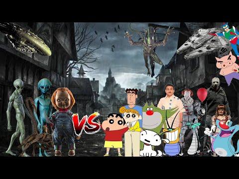 Shinchan jason Nohara Family PennyWise jack Oggy Shiro vs Chucky Aliens Among Us Final Battle- ep2