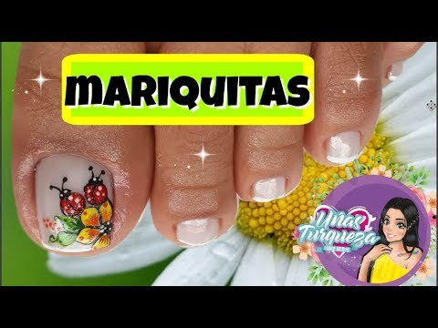 Diseños de uñas - Diseño de uñas mariquita y flores - Ladybug & flower Nail art-Uñas Turqueza