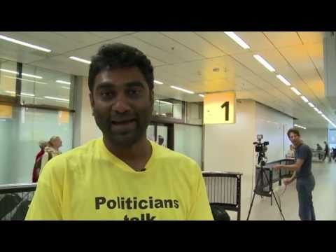 greenpeaceupdate - Kumi Naidoo, International Executive Director of Greenpeace, arrives back in Amsterdam having been arrested in Greenland after boarding Cairn Energy's oil ri...