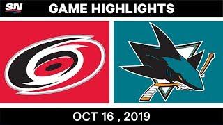 NHL Highlights | Hurricanes vs Sharks – Oct 16 2019 by Sportsnet Canada