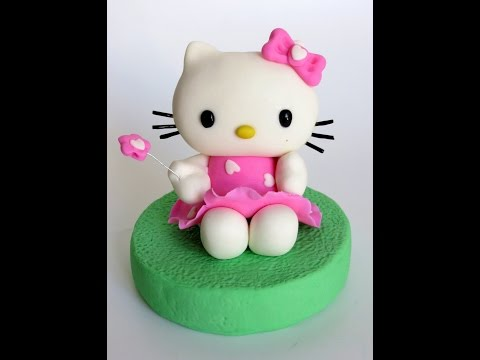 אנושקה - הלו קיטי מבצק סוכר/Hello Kitty fondant tutorial