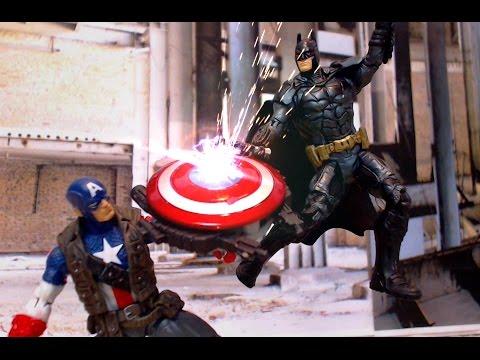 Batman V Captain America: Batman Arkham Stop Motion Animation Video w toys (ft Superman)