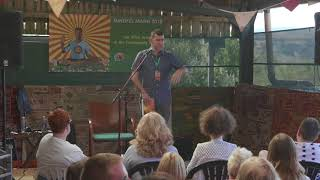 A screenshot of 'Steve's full talk at the Mindful Mann festival' video, with Steve Taylor