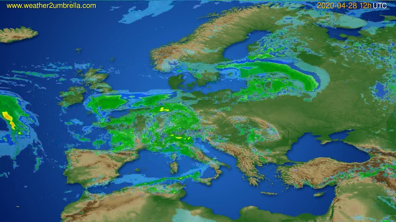 Radar forecast Europe // modelrun: 00h UTC 2020-04-28