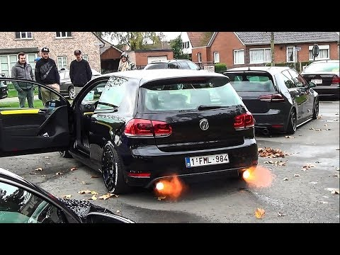 VW Golf VI GTI shooting flames w/ extreme loud bangs!!