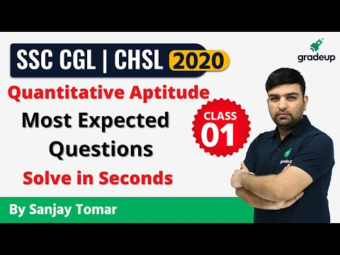 TOP 15 Maths Most Expected Questions Part 1 | CGL & CHSL | Sanjay Tomar | Gradeup