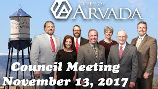 Preview image of Arvada City Council Meeting - November 13, 2017