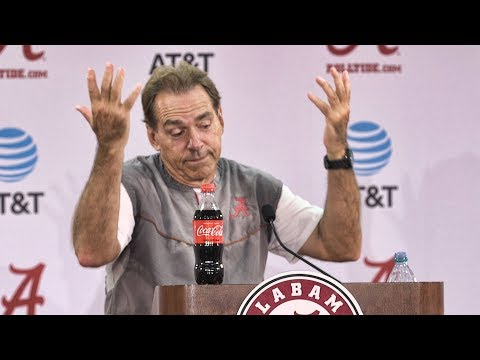 Nick Saban banters with reporters following practice Wednesday